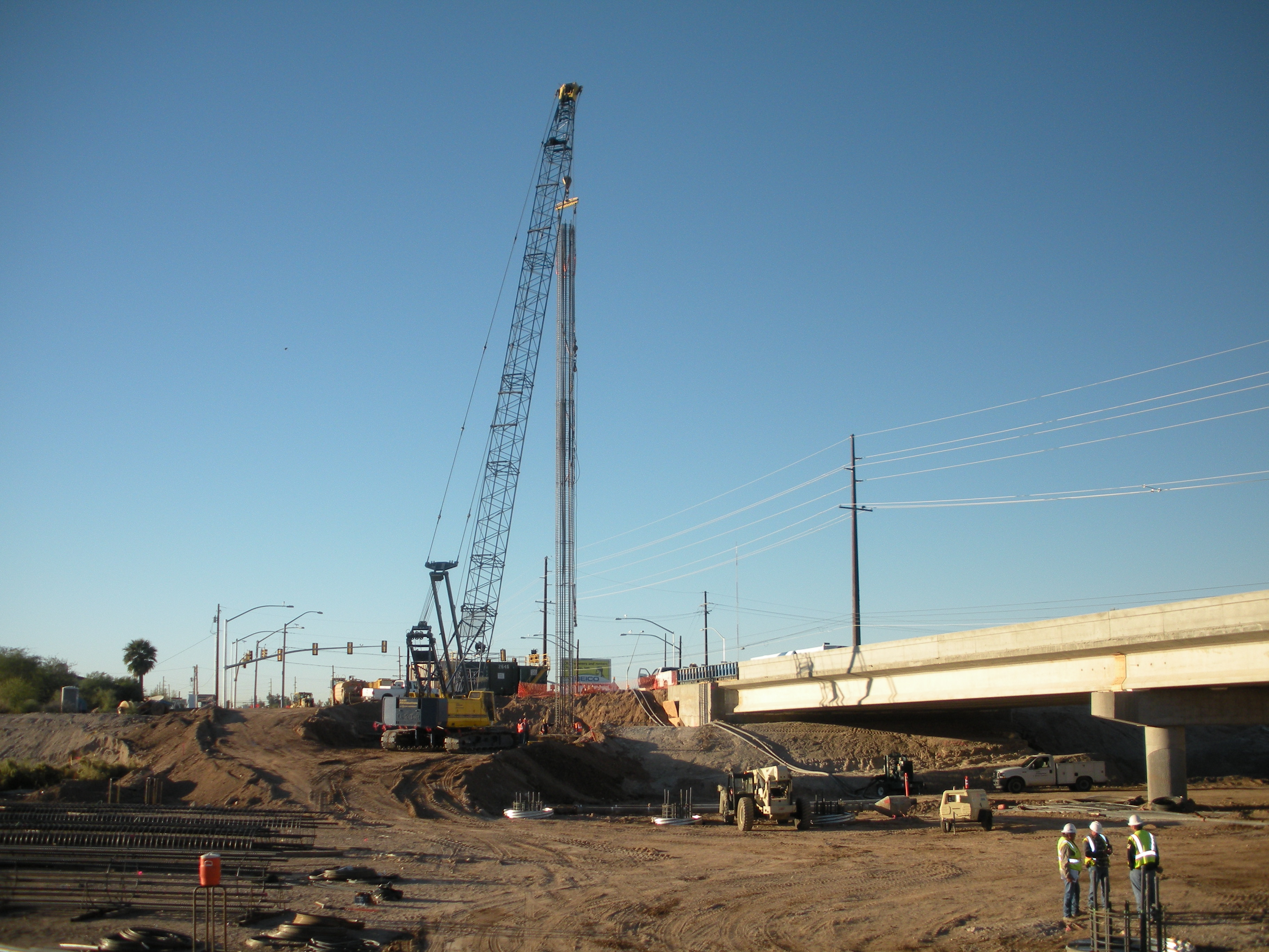 Photo of drilling shafts for the La Cholla Blvd. bridge over the CDO Wash.
